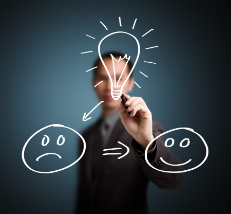 persona feliz: cambio buena idea infeliz a feliz escrita por concepto del hombre de negocios