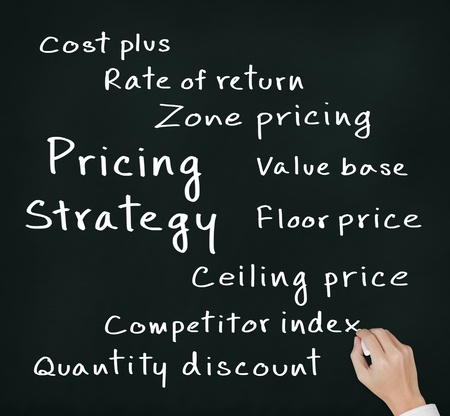 pricing: business hand writing pricing strategy of marketing concept Stock Photo