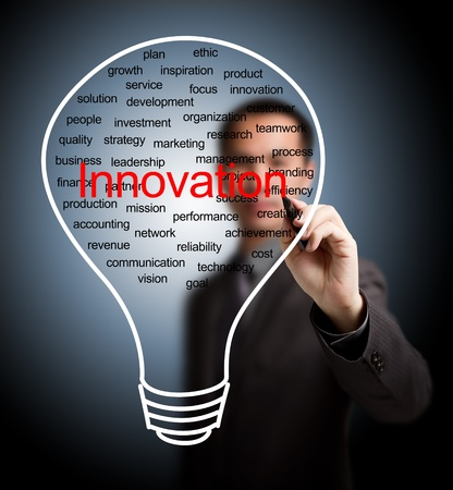 business man writing business innovation light bulb Stock Photo