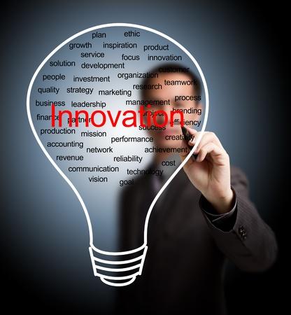 creative finance: business man writing business innovation light bulb Stock Photo