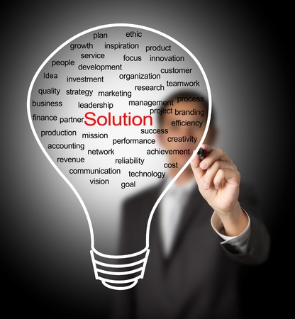 business man writing business solution light bulb photo