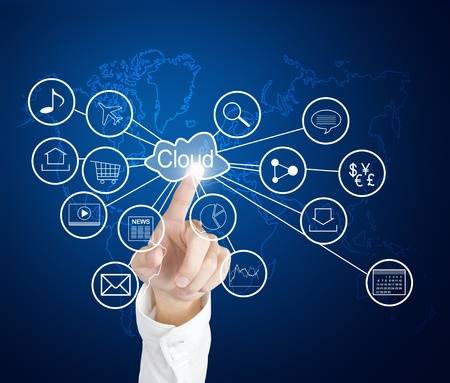 touch screen interface: business hand pointing at cloud computing and connected world wide application network Stock Photo