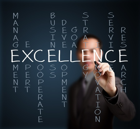 business man writing excellence concept by crossword of relate word such as management, expert, development, strategy, research etc Stock Photo - 15068212
