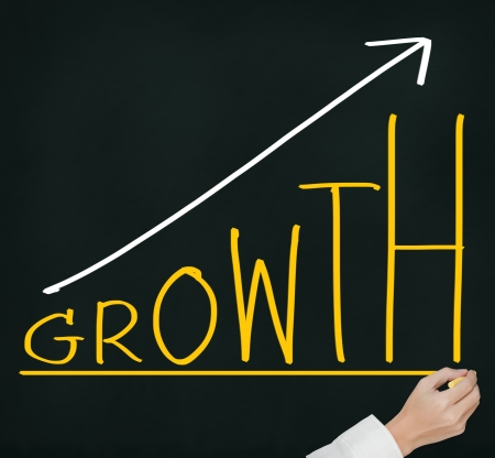 business hand writing growth concept on chalkboard photo