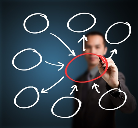 business man writing input and output with center diagram Stock Photo - 15068216
