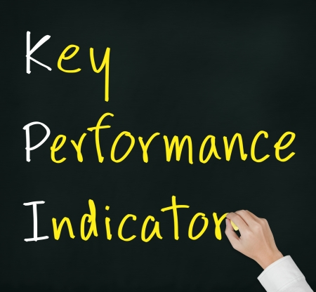 business hand writing key performance indicator   KPI   concept on chalkboard