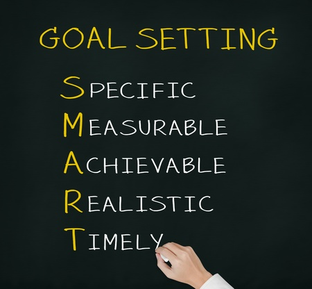 achievable: business hand writing smart goal or objective setting - specific - measurable - achievable realistic - timely Stock Photo