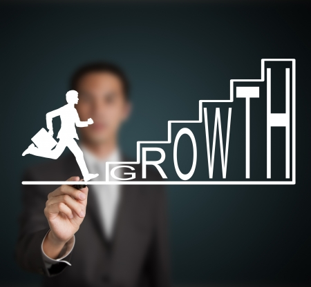 improvement: business man start to run and climb up  growth stair figure drawn by a businessman Stock Photo
