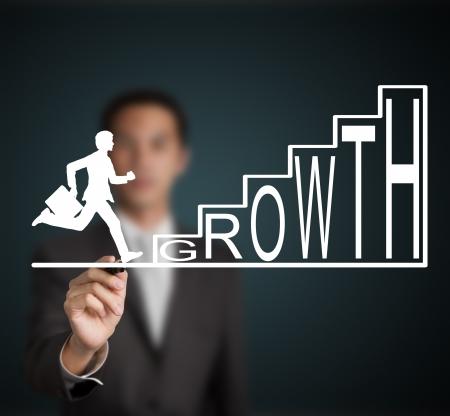 zakenman begint te lopen en klimmen groei trap figuur getrokken door een zakenman Stockfoto