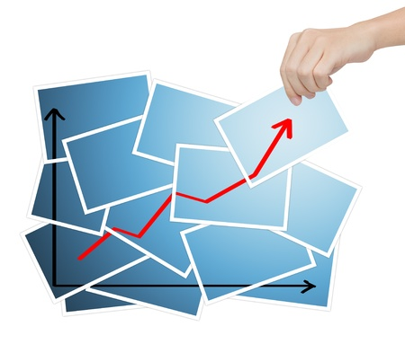 complete solution: business hand complete growth graph Stock Photo