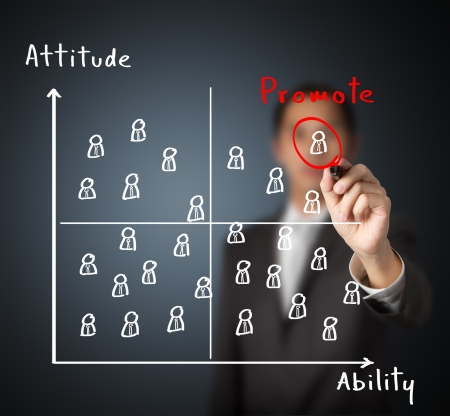 education choice: the boss promote the best attitude and highest ability employee to next level Stock Photo