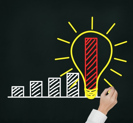 rapid: business man writing concept of good idea can make rapid growth and development Stock Photo