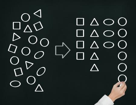 zakenman categoriseren geometrie tekening Stockfoto