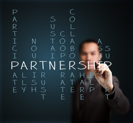 business man writing partnership concept by crossword of relate word such as ally, sustain, help, support, assist, share, etc