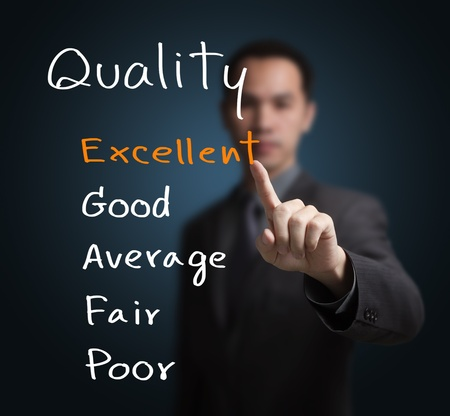 business man evaluate excellent quality photo