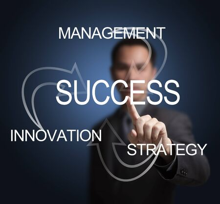 business man make success by management, innovation and strategy Stock Photo - 15396526