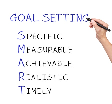 business hand writing smart goal or objective setting photo