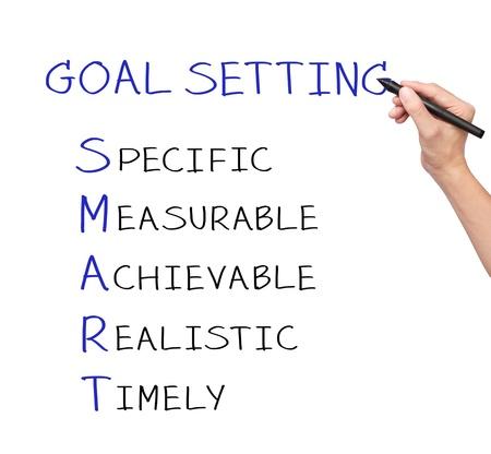 objetivo: negocio de escritura a mano meta inteligente o el establecimiento de objetivos Foto de archivo