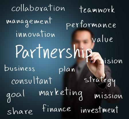 value: uomo d'affari di scrittura concetto di partenariato