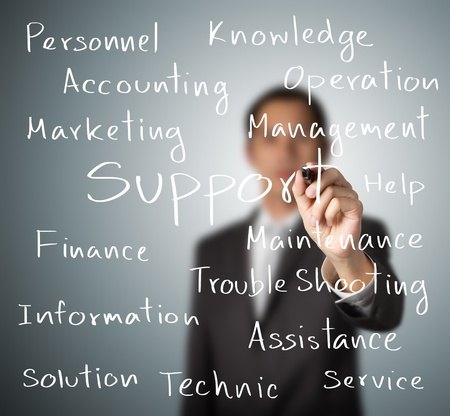 business man writing support concept Stock Photo - 15647346
