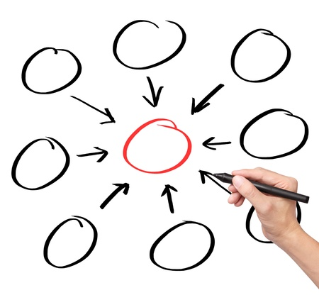 gather: business hand writing one core centralize from eight component diagram in blank Stock Photo