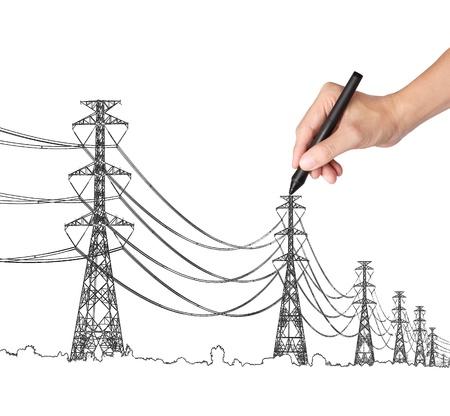 hoogspanningsmasten: zakelijke hand tekenen industriële elektrische pyloon en draad