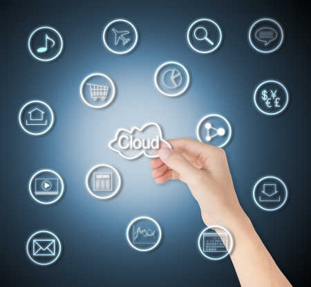 business hand hold cloud computing and application network photo