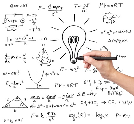 science lesson: teacher hand writing various high school maths and science formula with light bulb   symbol of idea and solution