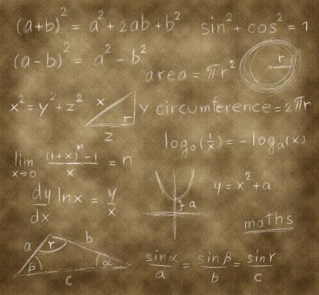 graph theory: mathematics formula writing on brown paper