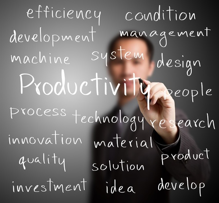 develop: business man writing productivity concept Stock Photo
