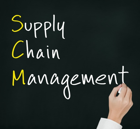 hand chain: business hand writing supply chain management   SCM  concept Stock Photo
