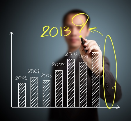 business man writing question about 2013 on graph Stock Photo - 15763876