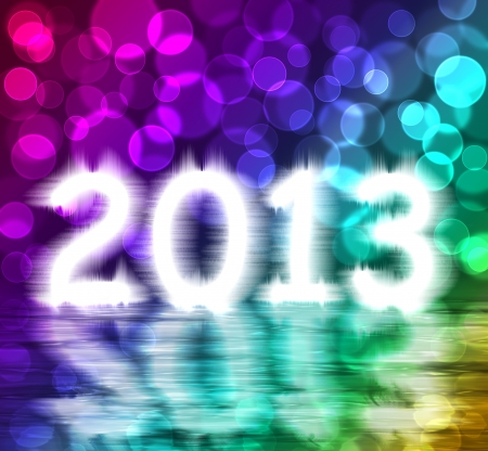 colorful 2013 new year with water reflex Stock Photo - 15846421