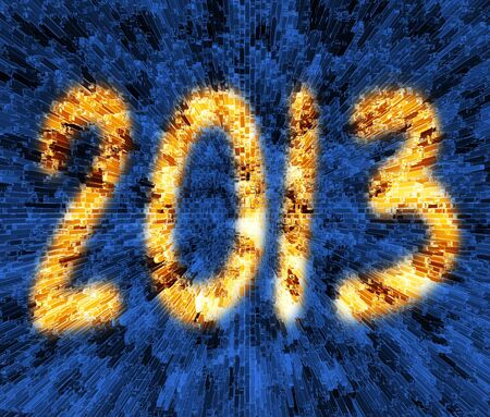 disperse: golden 2013 new year melt extrude bar on blue background Stock Photo