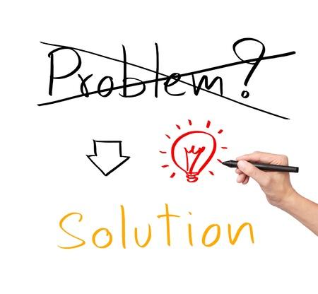 idea or innovation change problem to solution concept written by business hand Stock Photo