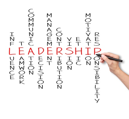 leaders: business hand writing leadership skill concept by crossword of influence - teamwork - communication - decision - management - contribution - vision - ethic - motivation - responsibility