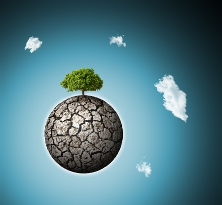 deficient: concept of environment   alone survived green three on dried planet Stock Photo