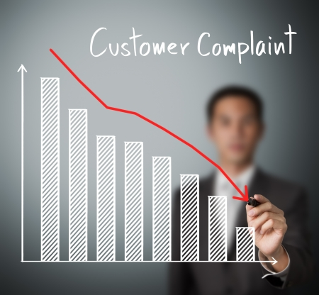 downward: business man writing reduced customer complaint graph Stock Photo