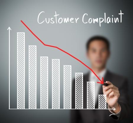 satisfaction client: homme d'affaires �crit graphe r�duit plainte d'un client