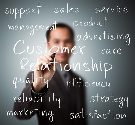 customer support: business man writing customer relationship concept