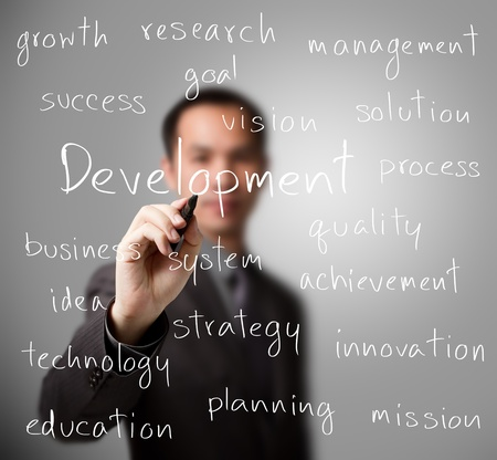 research and development: business man writing development concept