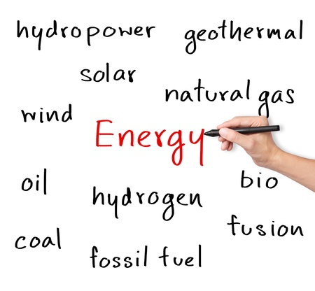energy management: business hand writing various energy sources Stock Photo