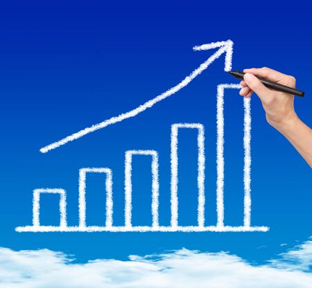 financial performance: business hand drawing cloud upward trend graph on blue sky