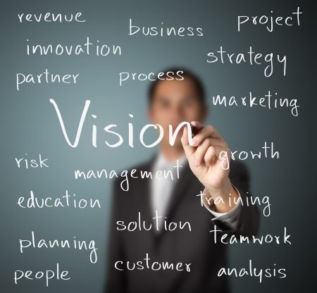 business project: business man writing concept of vision