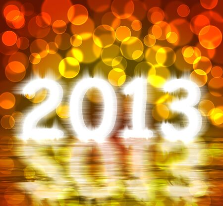 gold 2013 new year with water reflex Stock Photo - 16248084