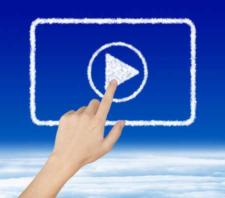 hand pressing start button on cloud video clip Stock Photo - 16248072