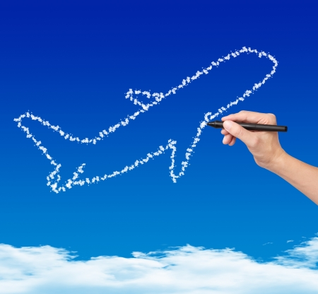 hand drawing cloud plane on blue sky photo