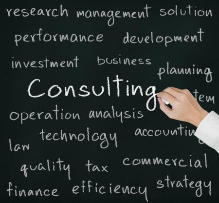 ビジネスの手は、コンサルティングのコンセプトを書き込む 写真素材