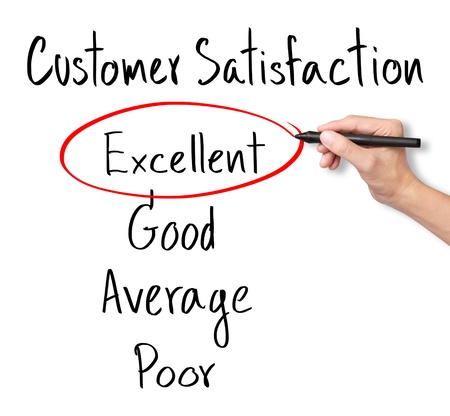 customer satisfaction: business hand evaluate excellent on customer satisfaction form