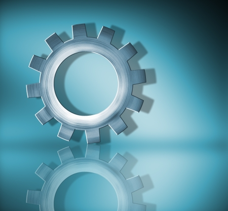 ingenieria industrial: engranaje azul utilizado con reflejo Foto de archivo